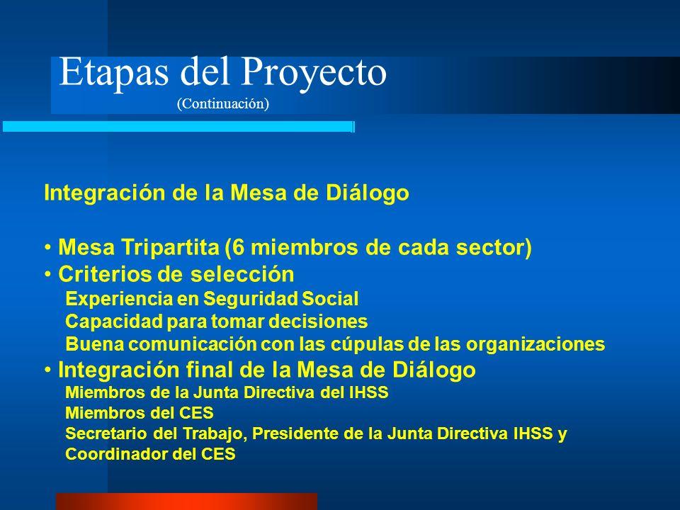 Etapas del Proyecto (Continuación) Integración de la Mesa de Diálogo Mesa Tripartita (6 miembros de cada sector) Criterios de selección Experiencia en