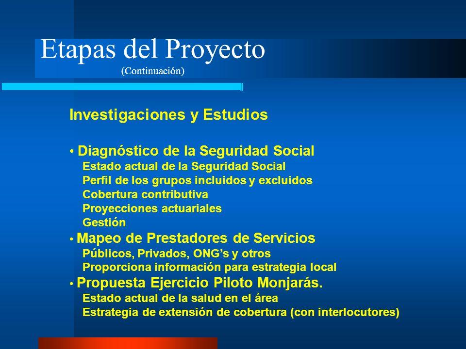 Etapas del Proyecto (Continuación) Investigaciones y Estudios Diagnóstico de la Seguridad Social Estado actual de la Seguridad Social Perfil de los gr