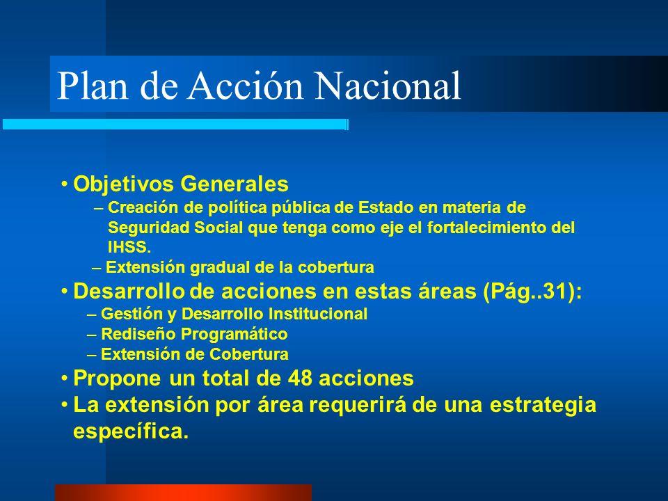 Plan de Acción Nacional Objetivos Generales – Creación de política pública de Estado en materia de Seguridad Social que tenga como eje el fortalecimie