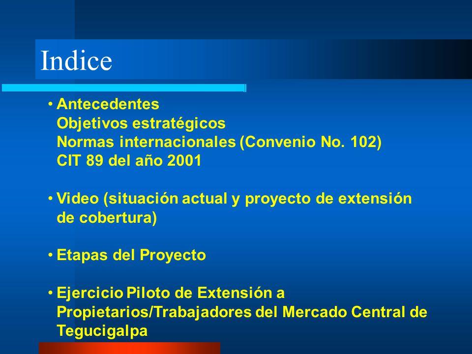 Indice Antecedentes Objetivos estratégicos Normas internacionales (Convenio No. 102) CIT 89 del año 2001 Video (situación actual y proyecto de extensi
