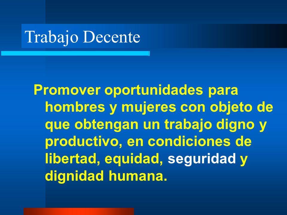 Trabajo Decente Promover oportunidades para hombres y mujeres con objeto de que obtengan un trabajo digno y productivo, en condiciones de libertad, eq