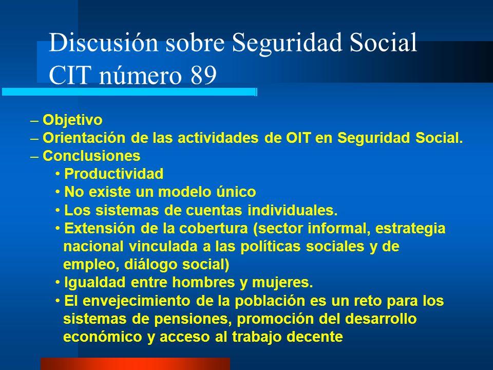 Discusión sobre Seguridad Social CIT número 89 – Objetivo – Orientación de las actividades de OIT en Seguridad Social. – Conclusiones Productividad No