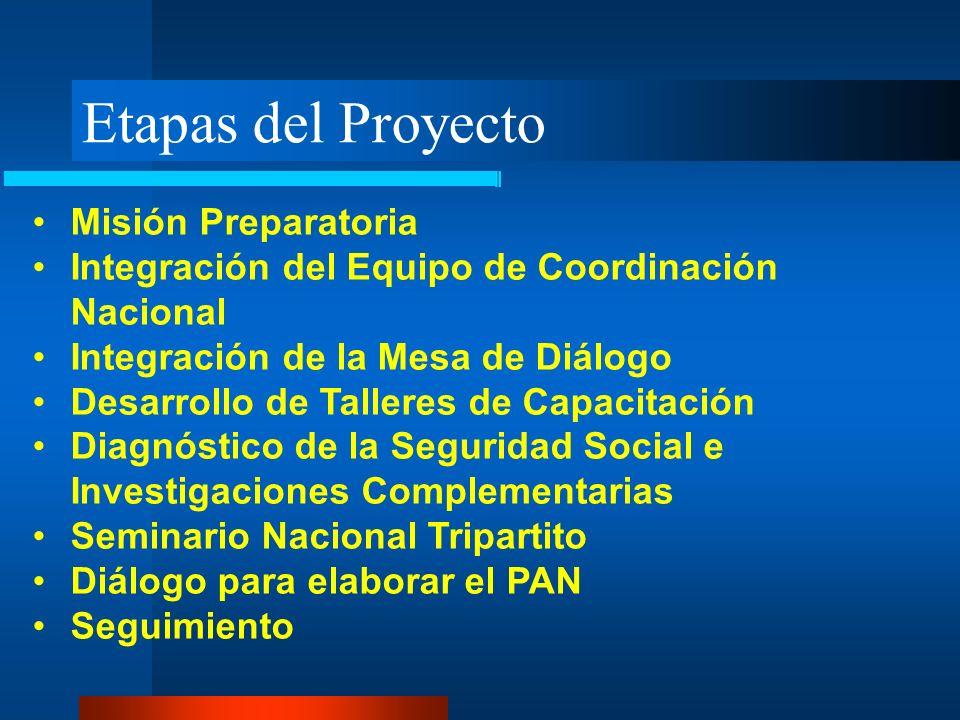 Etapas del Proyecto Misión Preparatoria Integración del Equipo de Coordinación Nacional Integración de la Mesa de Diálogo Desarrollo de Talleres de Ca