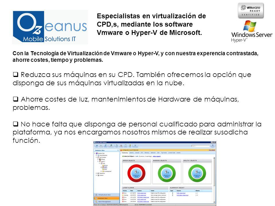 Con la Tecnología de Virtualización de Vmware o Hyper-V, y con nuestra experencia contrastada, ahorre costes, tiempo y problemas.