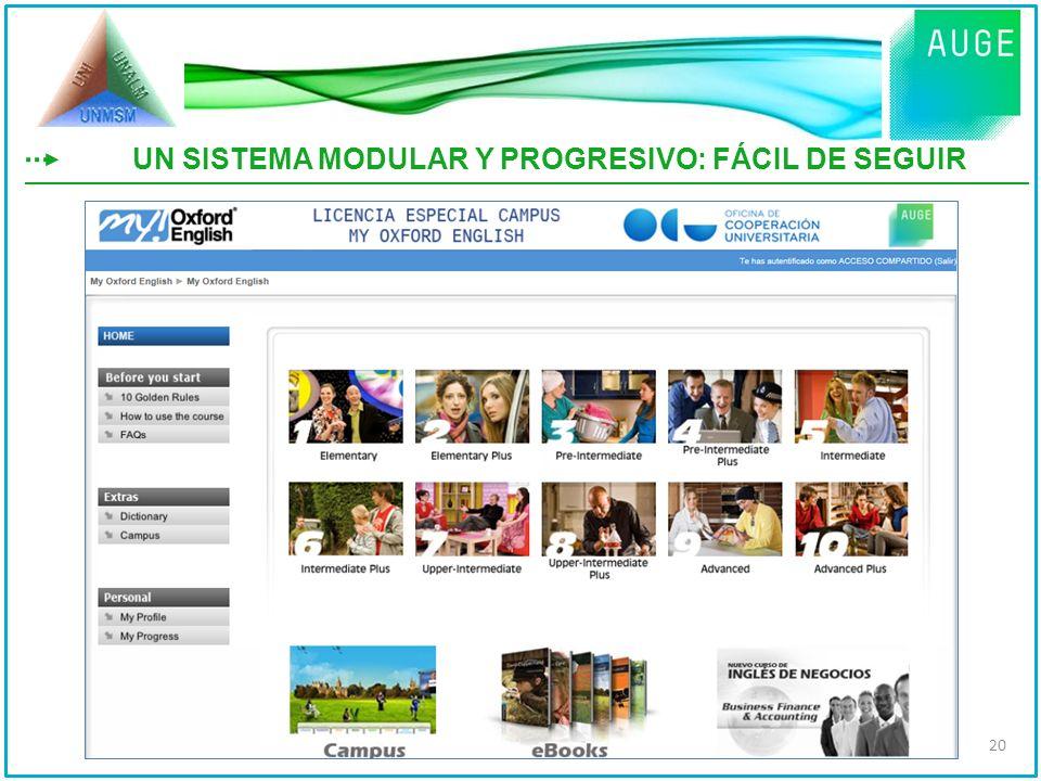 UN SISTEMA MODULAR Y PROGRESIVO: FÁCIL DE SEGUIR 20