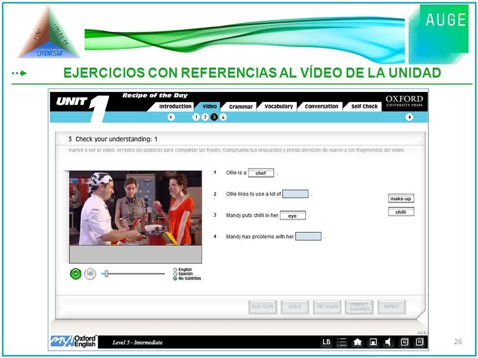 EJERCICIOS CON REFERENCIAS AL VÍDEO DE LA UNIDAD 26