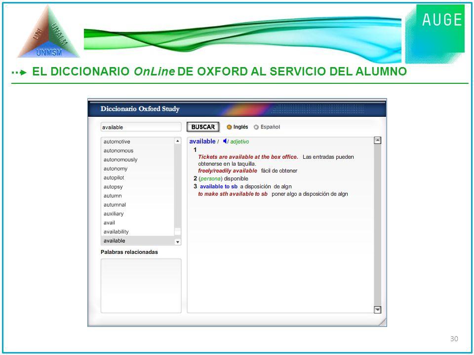 EL DICCIONARIO OnLine DE OXFORD AL SERVICIO DEL ALUMNO 30