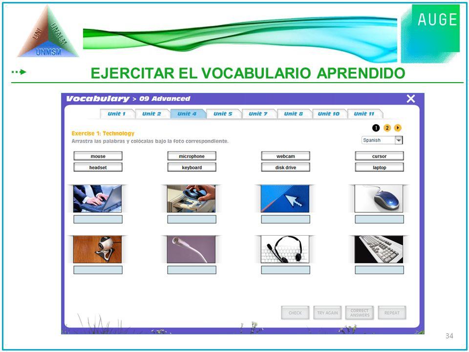 EJERCITAR EL VOCABULARIO APRENDIDO 34