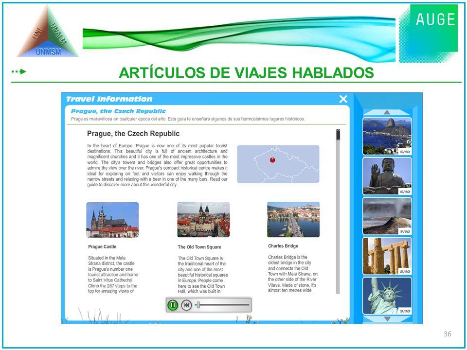 ARTÍCULOS DE VIAJES HABLADOS 36