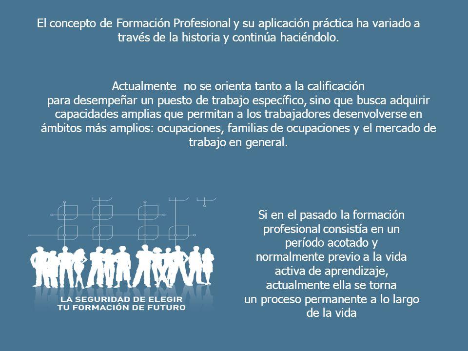 El concepto de Formación Profesional y su aplicación práctica ha variado a través de la historia y continúa haciéndolo. Actualmente no se orienta tant