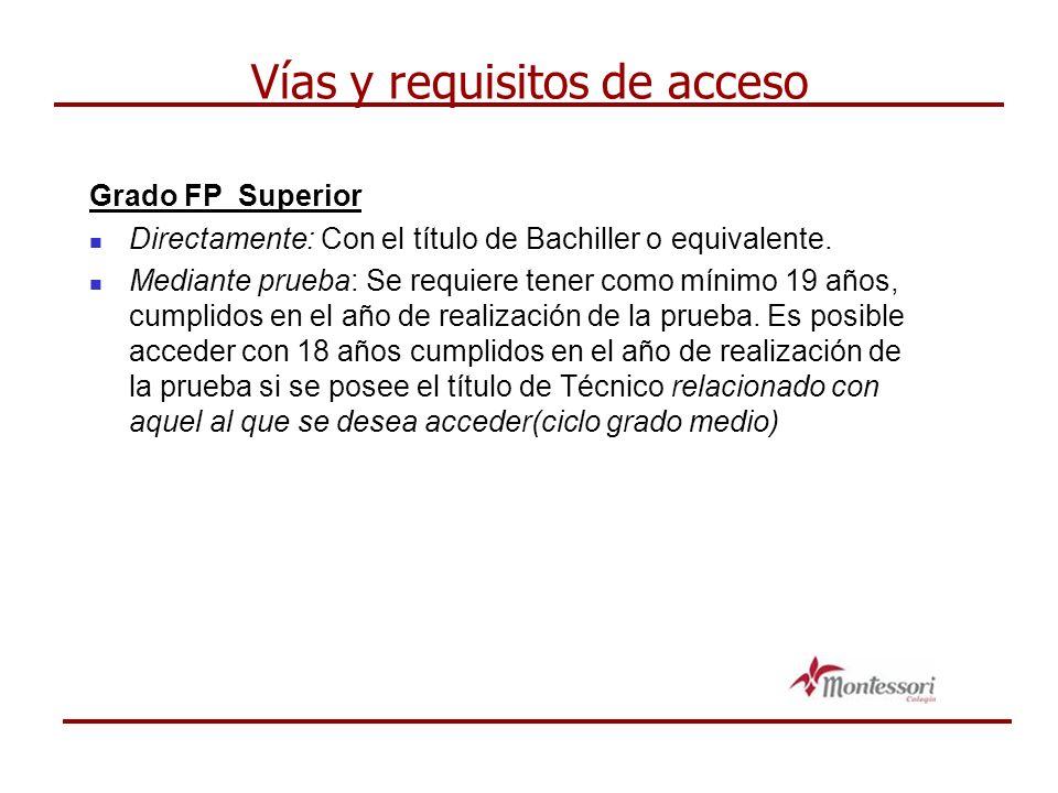 Vías y requisitos de acceso Grado FP Superior Directamente: Con el título de Bachiller o equivalente.