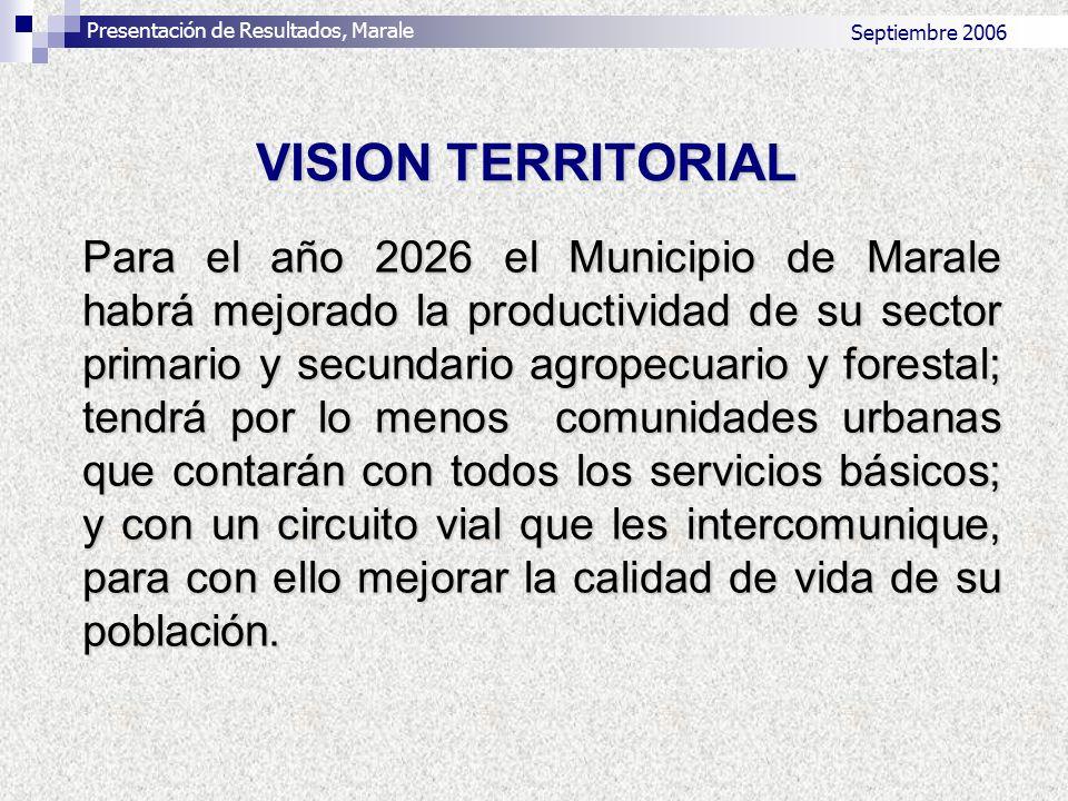 Septiembre 2006 Para el año 2026 el Municipio de Marale habrá mejorado la productividad de su sector primario y secundario agropecuario y forestal; te