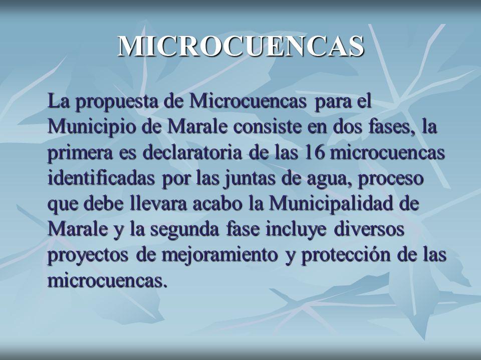 MICROCUENCAS La propuesta de Microcuencas para el Municipio de Marale consiste en dos fases, la primera es declaratoria de las 16 microcuencas identif