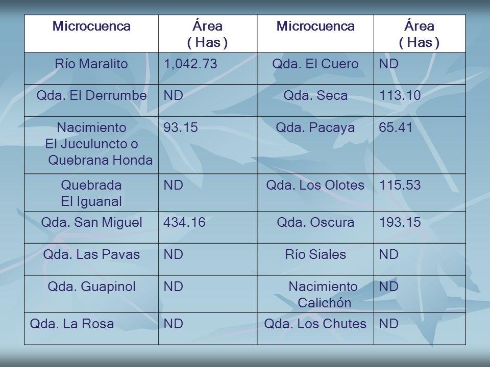 MicrocuencaÁrea ( Has ) MicrocuencaÁrea ( Has ) Río Maralito1,042.73Qda. El CueroND Qda. El DerrumbeNDQda. Seca113.10 Nacimiento El Juculuncto o Quebr