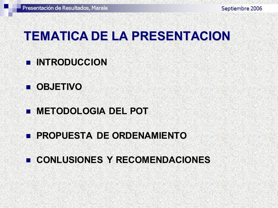 TEMATICA DE LA PRESENTACION INTRODUCCION OBJETIVO METODOLOGIA DEL POT PROPUESTA DE ORDENAMIENTO CONLUSIONES Y RECOMENDACIONES Presentación de Resultad