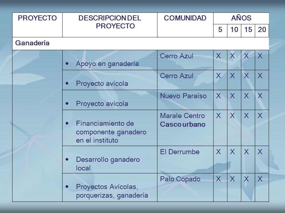 PROYECTODESCRIPCION DEL PROYECTO COMUNIDADAÑOS 5101520 Ganadería Apoyo en ganadería Cerro AzulXXXX Proyecto avícola Cerro AzulXXXX Proyecto avícola Nu