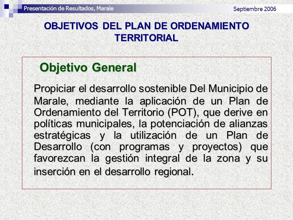 OBJETIVOS DEL PLAN DE ORDENAMIENTO TERRITORIAL Objetivo General Propiciar el desarrollo sostenible Del Municipio de Marale, mediante la aplicación de