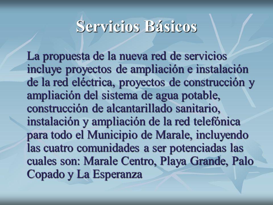 Servicios Básicos La propuesta de la nueva red de servicios incluye proyectos de ampliación e instalación de la red eléctrica, proyectos de construcci