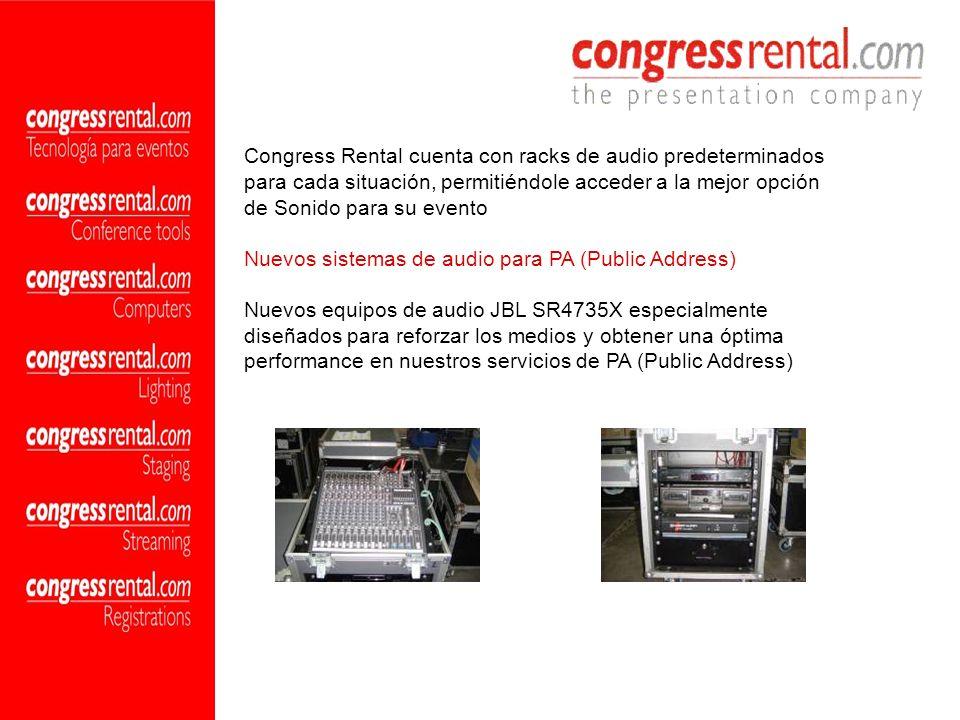 Congress Rental cuenta con racks de audio predeterminados para cada situación, permitiéndole acceder a la mejor opción de Sonido para su evento Nuevos
