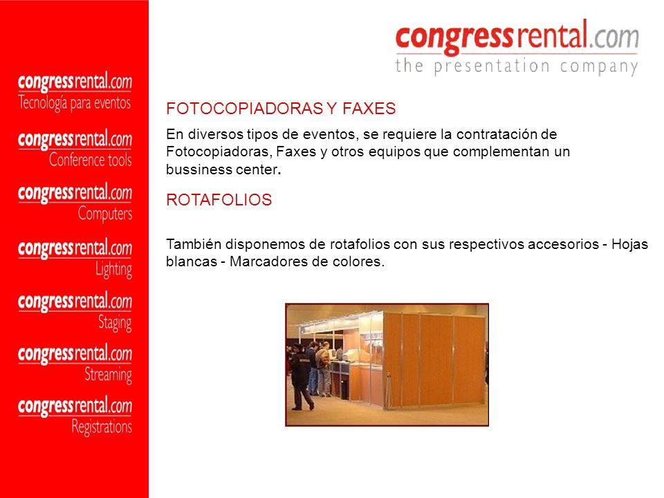 En diversos tipos de eventos, se requiere la contratación de Fotocopiadoras, Faxes y otros equipos que complementan un bussiness center. FOTOCOPIADORA