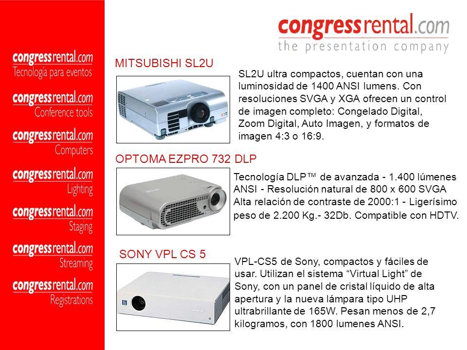 SL2U ultra compactos, cuentan con una luminosidad de 1400 ANSI lumens. Con resoluciones SVGA y XGA ofrecen un control de imagen completo: Congelado Di