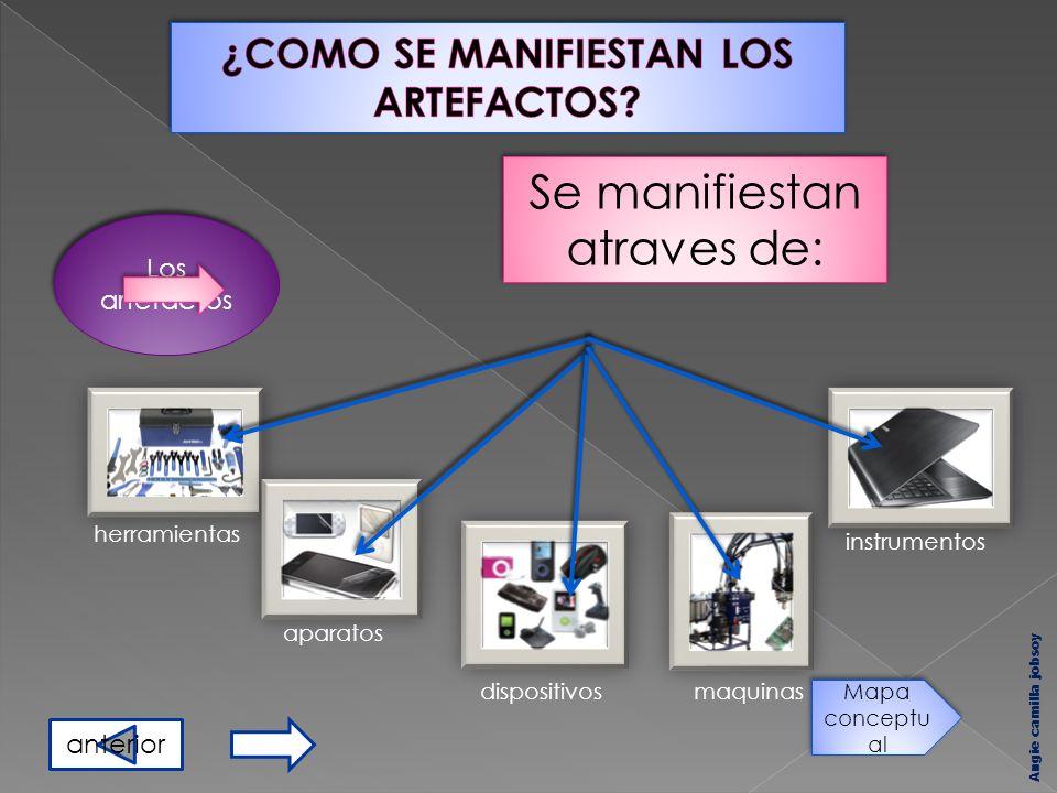 Los artefactos Se manifiestan atraves de: herramientas dispositivos aparatos maquinas instrumentos Angie camilla jobsoy Mapa conceptu al anterior