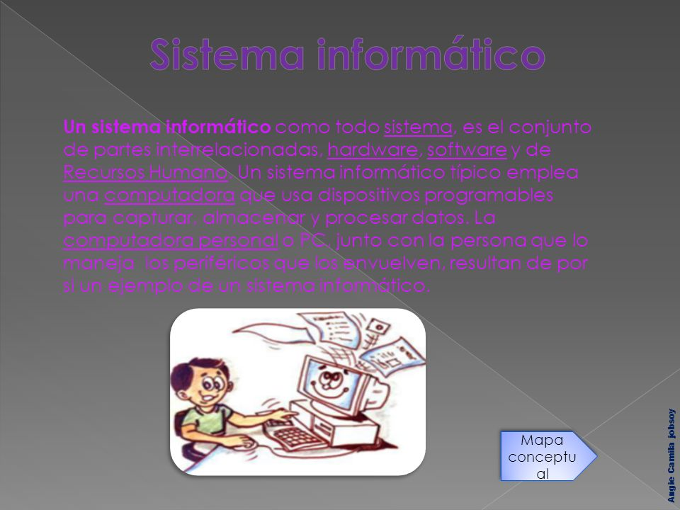 Un sistema informático como todo sistema, es el conjunto de partes interrelacionadas, hardware, software y de Recursos Humano. Un sistema informático