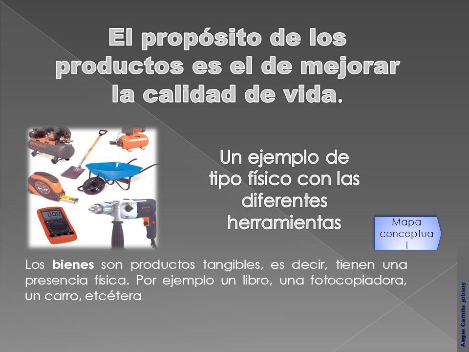 Los bienes son productos tangibles, es decir, tienen una presencia física. Por ejemplo un libro, una fotocopiadora, un carro, etcétera Mapa conceptua