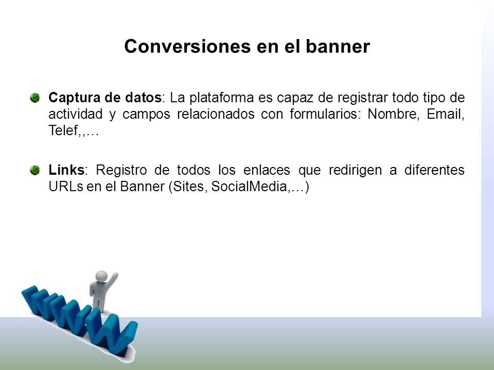 Conversiones en el banner Captura de datos: La plataforma es capaz de registrar todo tipo de actividad y campos relacionados con formularios: Nombre, Email, Telef,,… Links: Registro de todos los enlaces que redirigen a diferentes URLs en el Banner (Sites, SocialMedia,…)