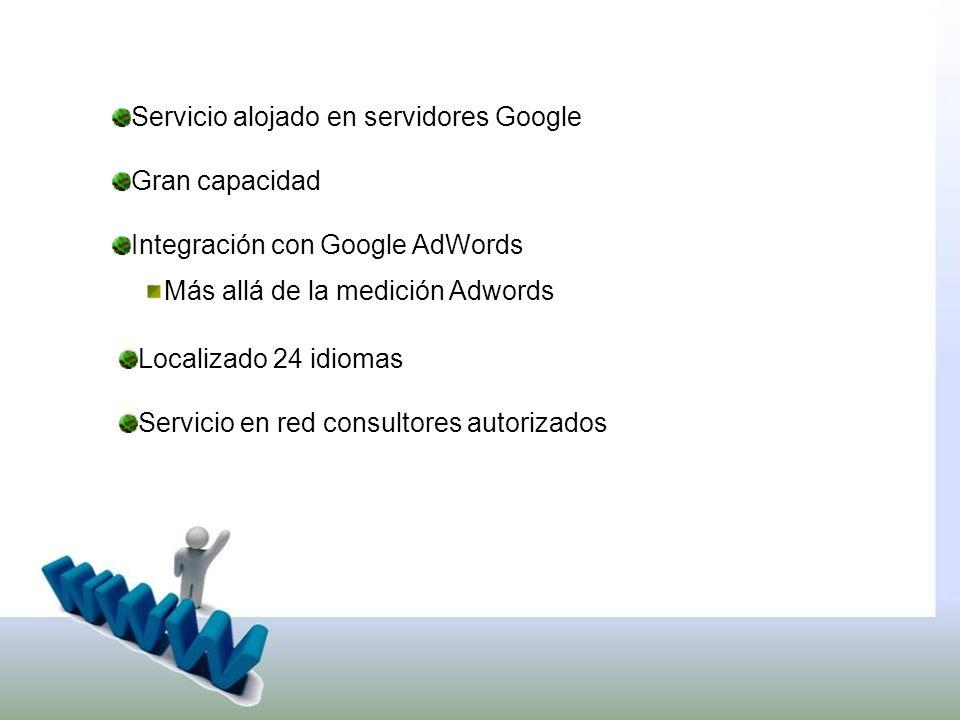 Servicio alojado en servidores Google Gran capacidad Integración con Google AdWords Más allá de la medición Adwords Localizado 24 idiomas Servicio en red consultores autorizados