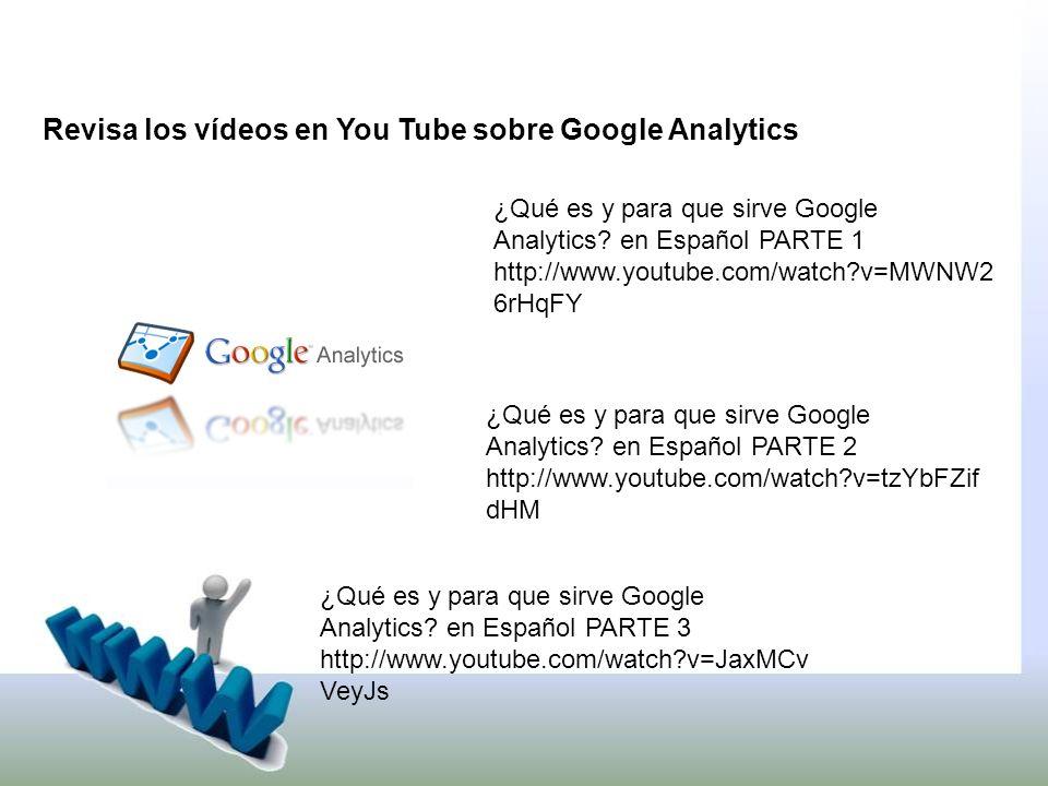 Revisa los vídeos en You Tube sobre Google Analytics ¿Qué es y para que sirve Google Analytics.