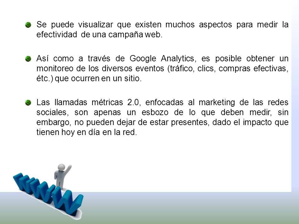 Se puede visualizar que existen muchos aspectos para medir la efectividad de una campaña web.