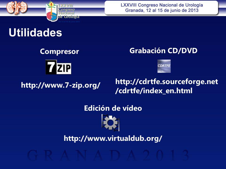 Utilidades http://www.7-zip.org/ Compresor http://cdrtfe.sourceforge.net /cdrtfe/index_en.html Grabación CD/DVD Edición de vídeo http://www.virtualdub.org/