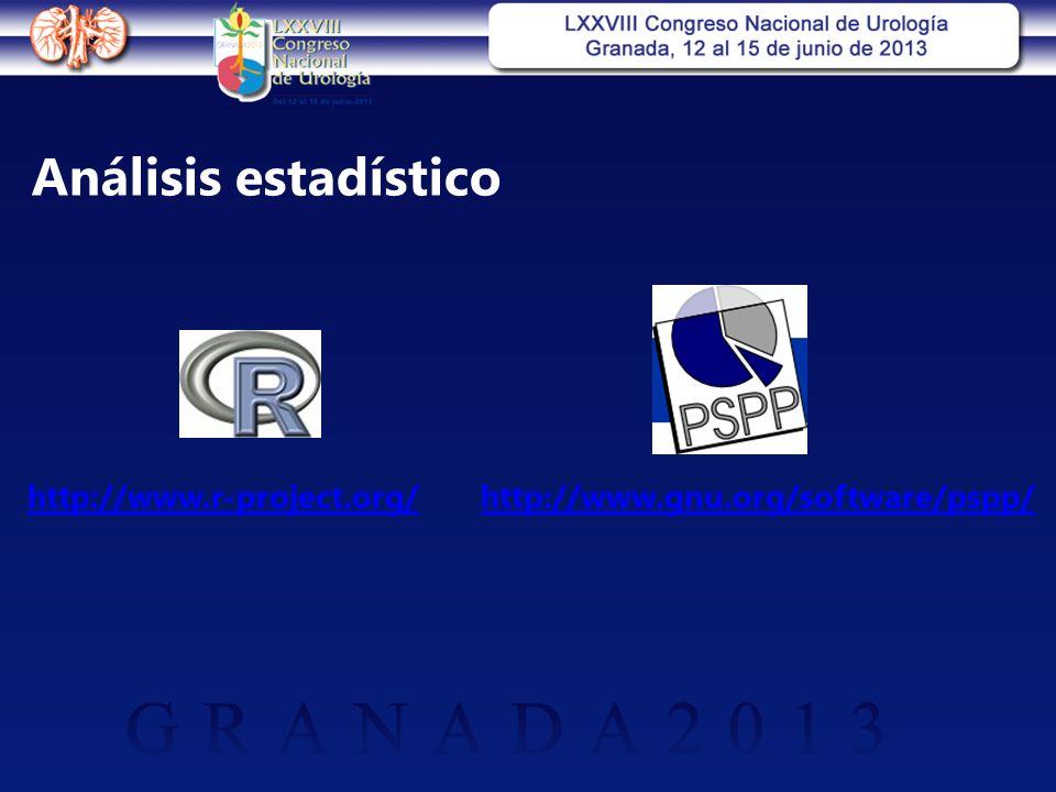 Análisis estadístico http://www.r-project.org/http://www.gnu.org/software/pspp/