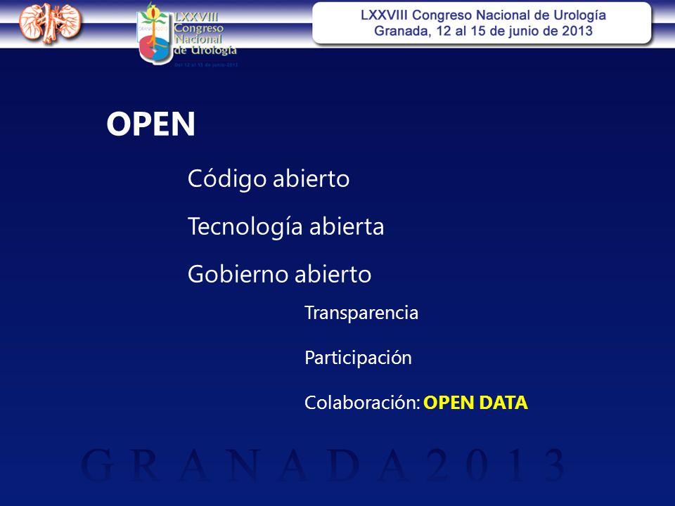 OPEN Código abierto Tecnología abierta Gobierno abierto Transparencia Participación Colaboración: OPEN DATA