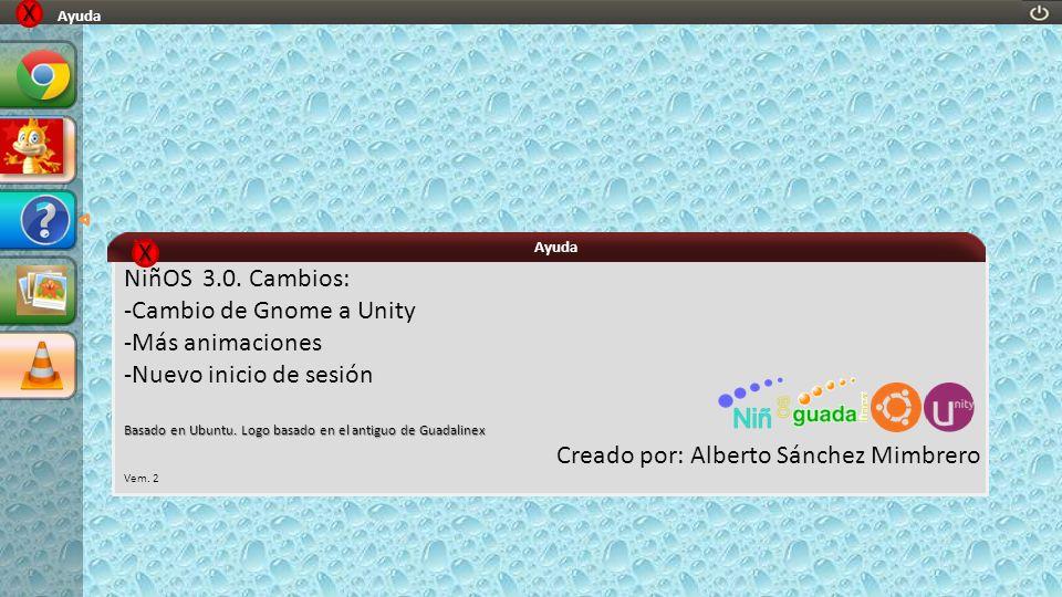 NiñOS 3.0. Cambios: -Cambio de Gnome a Unity -Más animaciones -Nuevo inicio de sesión Basado en Ubuntu. Logo basado en el antiguo de Guadalinex Creado