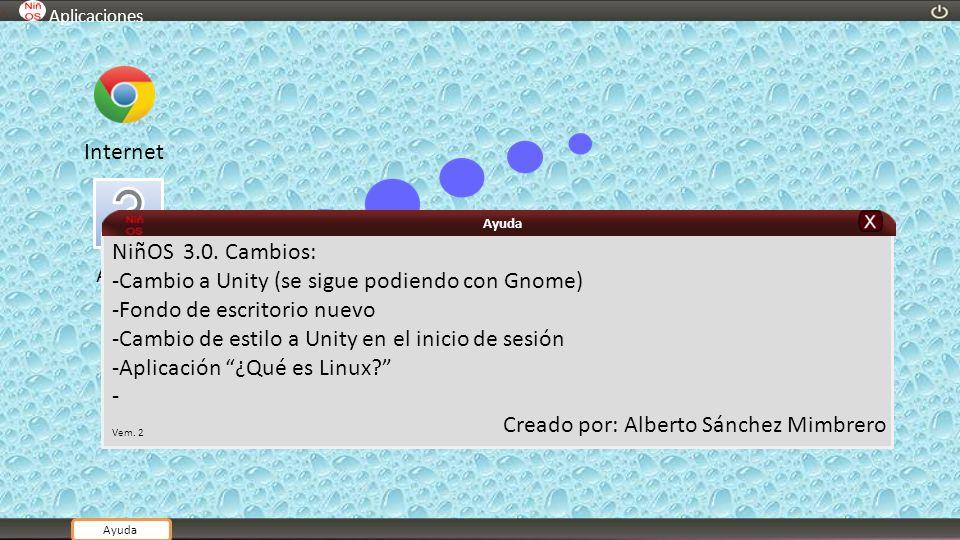 Ayuda Aplicaciones Internet NiñOS 3.0. Cambios: -Cambio a Unity (se sigue podiendo con Gnome) -Fondo de escritorio nuevo -Cambio de estilo a Unity en