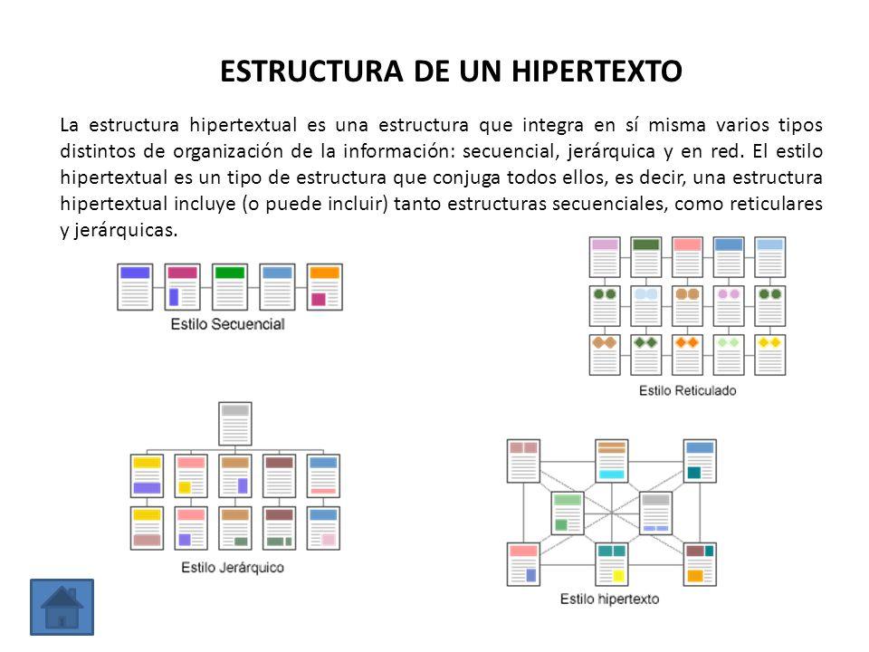 La estructura hipertextual es una estructura que integra en sí misma varios tipos distintos de organización de la información: secuencial, jerárquica