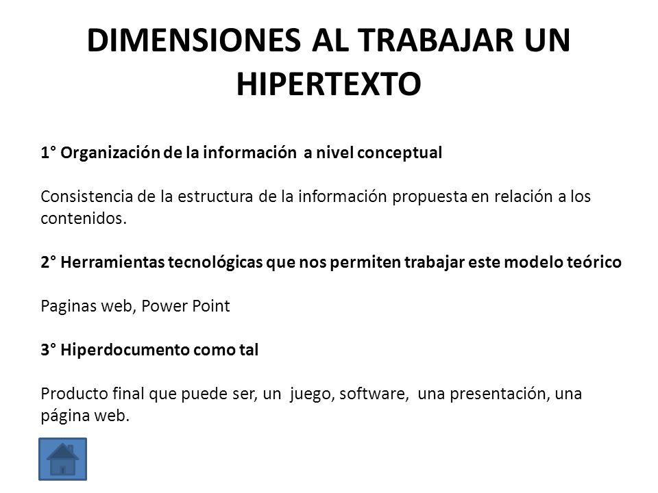 DIMENSIONES AL TRABAJAR UN HIPERTEXTO 1° Organización de la información a nivel conceptual Consistencia de la estructura de la información propuesta e