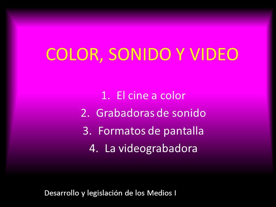 COLOR, SONIDO Y VIDEO Desarrollo y legislación de los Medios I 1.El cine a color 2.Grabadoras de sonido 3.Formatos de pantalla 4.La videograbadora