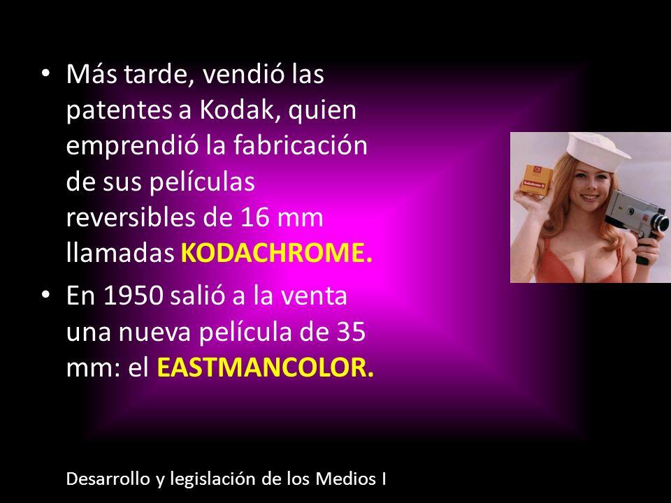 Más tarde, vendió las patentes a Kodak, quien emprendió la fabricación de sus películas reversibles de 16 mm llamadas KODACHROME. En 1950 salió a la v