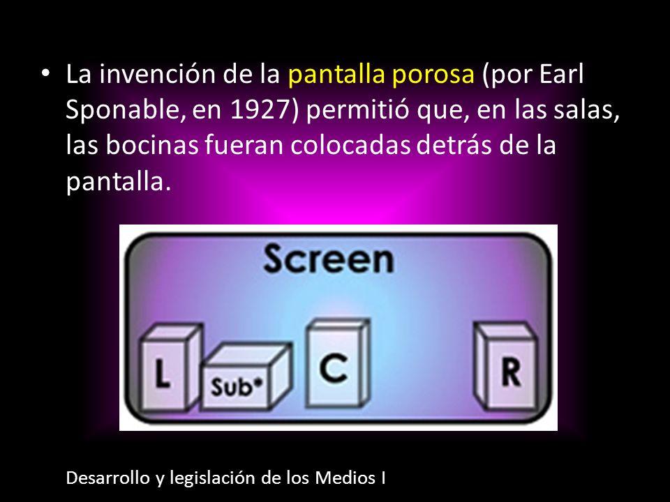 La invención de la pantalla porosa (por Earl Sponable, en 1927) permitió que, en las salas, las bocinas fueran colocadas detrás de la pantalla. Desarr