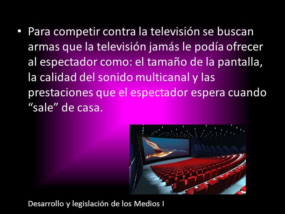 Para competir contra la televisión se buscan armas que la televisión jamás le podía ofrecer al espectador como: el tamaño de la pantalla, la calidad d