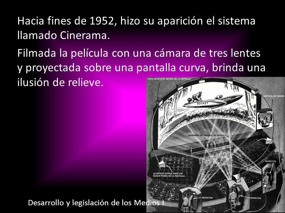 Hacia fines de 1952, hizo su aparición el sistema llamado Cinerama. Filmada la película con una cámara de tres lentes y proyectada sobre una pantalla