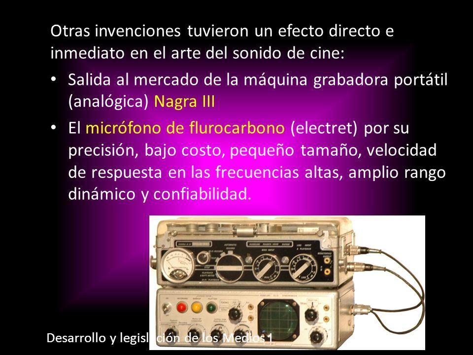 Otras invenciones tuvieron un efecto directo e inmediato en el arte del sonido de cine: Salida al mercado de la máquina grabadora portátil (analógica)