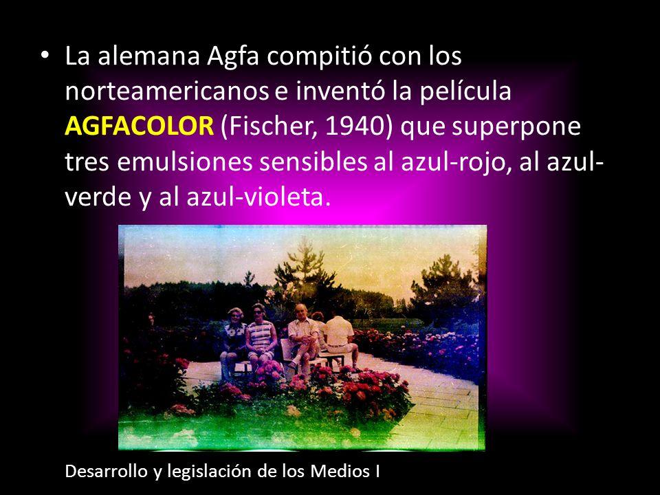 La alemana Agfa compitió con los norteamericanos e inventó la película AGFACOLOR (Fischer, 1940) que superpone tres emulsiones sensibles al azul-rojo,