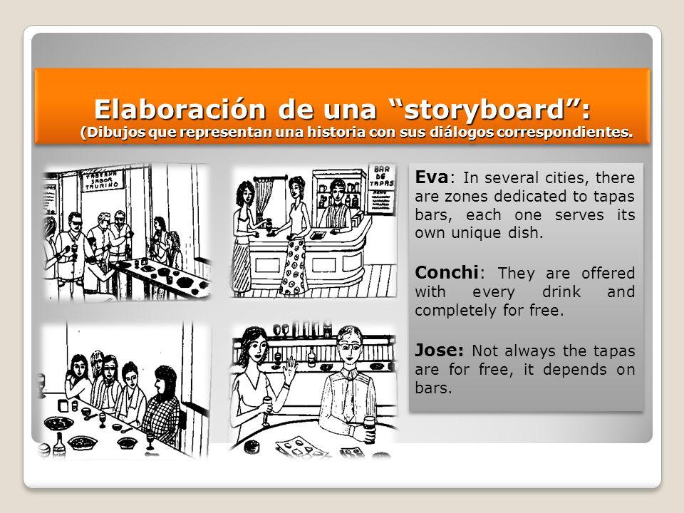 Elaboración de una storyboard: (Dibujos que representan una historia con sus diálogos correspondientes. Eva: In several cities, there are zones dedica