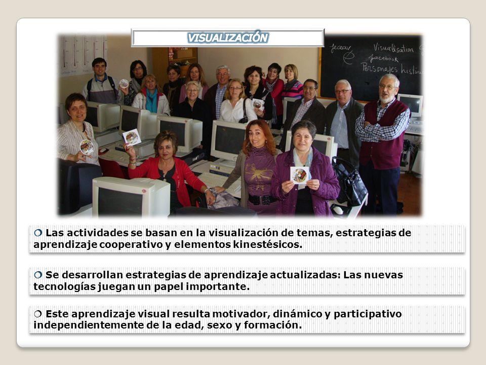 Las actividades se basan en la visualización de temas, estrategias de aprendizaje cooperativo y elementos kinestésicos. Se desarrollan estrategias de