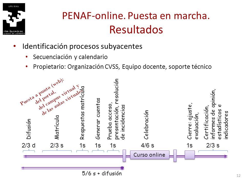 12 PENAF-online. Puesta en marcha.