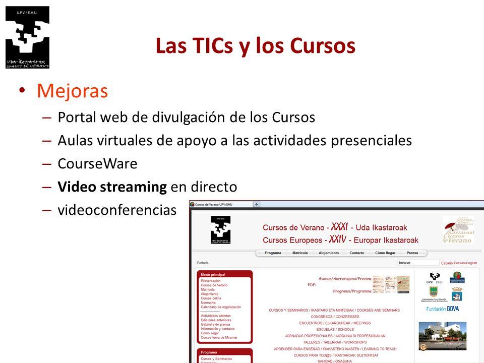 Las TICs y los Cursos 3 Mejoras – Portal web de divulgación de los Cursos – Aulas virtuales de apoyo a las actividades presenciales – CourseWare – Video streaming en directo – videoconferencias